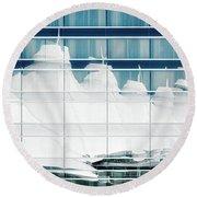 Round Beach Towel featuring the photograph Dia Hotel Reflection by Joe Bonita