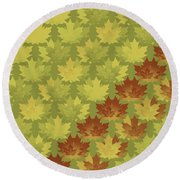 Diagonal Leaf Pattern Round Beach Towel by Methune Hively