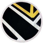 Round Beach Towel featuring the photograph Diagonal Path Traffic Lines by Gary Slawsky