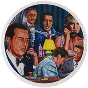 Round Beach Towel featuring the painting Dial M For Murder by Michael Frank