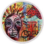 Round Beach Towel featuring the mixed media Dialogue Between Red Dawg And Wildwoman-self by Mimulux patricia no No