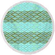 Diamond Bands Aqua Olive Round Beach Towel