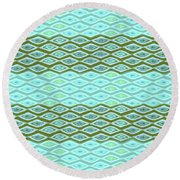 Diamond Bands Aqua Olive Round Beach Towel