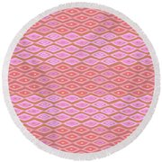 Diamond Bands Salmon Round Beach Towel