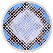 Round Beach Towel featuring the digital art Diamond Blues by Shawna Rowe