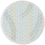 Diamond Eyes Array Faded Gray Round Beach Towel