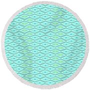 Diamond Eyes Pale Teal Round Beach Towel