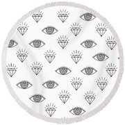 Diamond Eyes Round Beach Towel