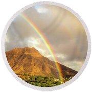 Diamond Head Crater - Double Rainbow Round Beach Towel