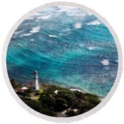 Diamond Head Lighthouse Round Beach Towel