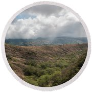 Diamond Head View Round Beach Towel