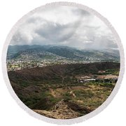 Diamond Head View Panoramic Round Beach Towel