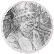 Round Beach Towel featuring the drawing Diamond Jubilee by Teresa White