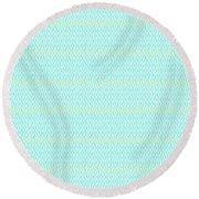 Diamond Rain Aqua Round Beach Towel