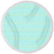 Diamond Rain Aqua Round Beach Towel