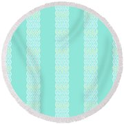Diamond Rain Teal Stripes Round Beach Towel