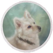 Round Beach Towel featuring the mixed media Diamond, The White Shepherd by Colleen Taylor