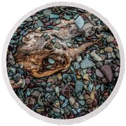 Round Beach Towel featuring the photograph Diamonds In The River by Annette Berglund