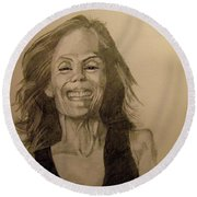 Round Beach Towel featuring the painting Diana by Ray Agius