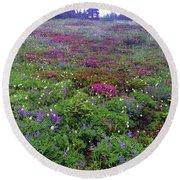 Dickerman Floral Meadow Round Beach Towel