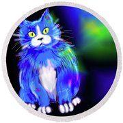 Round Beach Towel featuring the painting Diego Blue Dizzycat by DC Langer