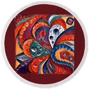 Digital Abstract 4 Round Beach Towel by Megan Walsh