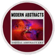 Digital Abstract Art Collection Round Beach Towel by Modern Art Prints