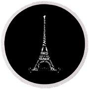 Round Beach Towel featuring the digital art Digital-art Eiffel Tower - Panoramic by Melanie Viola