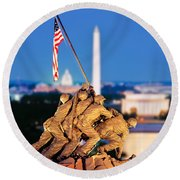 Digital Composite, Iwo Jima Memorial Round Beach Towel by Panoramic Images
