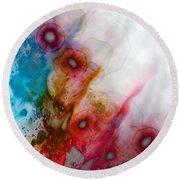 Round Beach Towel featuring the digital art Digital Dreaming by Linda Sannuti