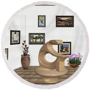 Round Beach Towel featuring the mixed media digital exhibitartion _Statue of  girl by Pemaro
