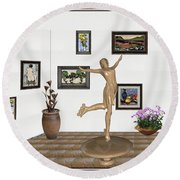 Round Beach Towel featuring the mixed media digital exhibition _ A sculpture of a dancing girl 11 by Pemaro