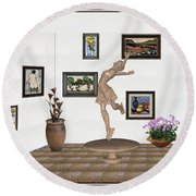 digital exhibition _ A sculpture of a dancing girl 14 Round Beach Towel