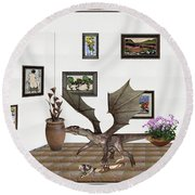 Round Beach Towel featuring the mixed media digital exhibition _ Dragon and snake by Pemaro