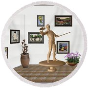 Digital Exhibition _ Guard Of The Exhibition 3 Round Beach Towel by Pemaro