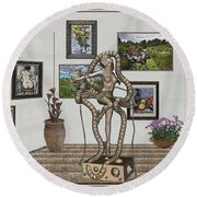 Round Beach Towel featuring the mixed media Digital Exhibition _ Modern  Statue 1   Of Dancing Girl by Pemaro