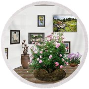 Round Beach Towel featuring the mixed media Digital Exhibition _ Roses Blossom 22 by Pemaro