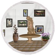 Round Beach Towel featuring the mixed media digital exhibition _ Sculpture 8 of girl  by Pemaro