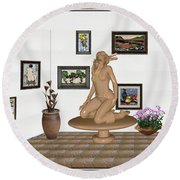 Round Beach Towel featuring the mixed media digital exhibition _ Sculpture 9 of girl  by Pemaro