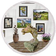 Round Beach Towel featuring the mixed media Digital Exhibition _  Sculpture Of A Horse by Pemaro