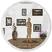 digital exhibition _ Statue of a Statue 22 of posing lady  Round Beach Towel by Pemaro