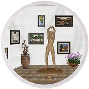 digital exhibition _ Statue of a Statue 23 of posing lady  Round Beach Towel