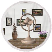 digital exhibition _ Statue of fish 2 Round Beach Towel