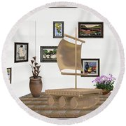digital exhibition _ Statue raft with sails 4 Round Beach Towel