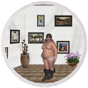 Round Beach Towel featuring the mixed media Digital Exhibition  22 Of Posing Lady  by Pemaro