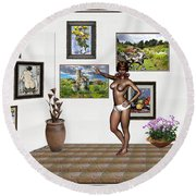 Round Beach Towel featuring the mixed media digital exhibition 32 _ posing  Girl 32  by Pemaro