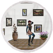 Round Beach Towel featuring the mixed media digital exhibition 32  posing  Girl  by Pemaro