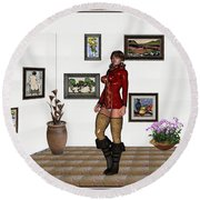 digital exhibition 32  posing  Girl 31  Round Beach Towel