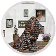 digital exhibition _Modern Statue of scrap Round Beach Towel