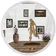 digital exhibition   sculpture of  posing  Girl 32  Round Beach Towel